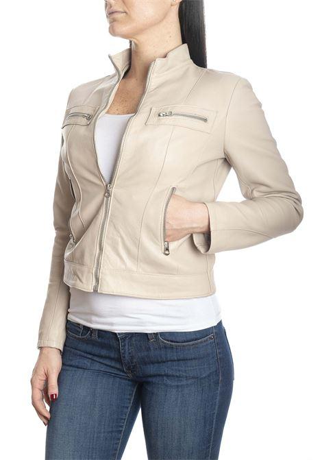 Giubbino zip pelle beige PK BY PASKAL | Giubbini in pelle | 327NAPPA-BEIGE