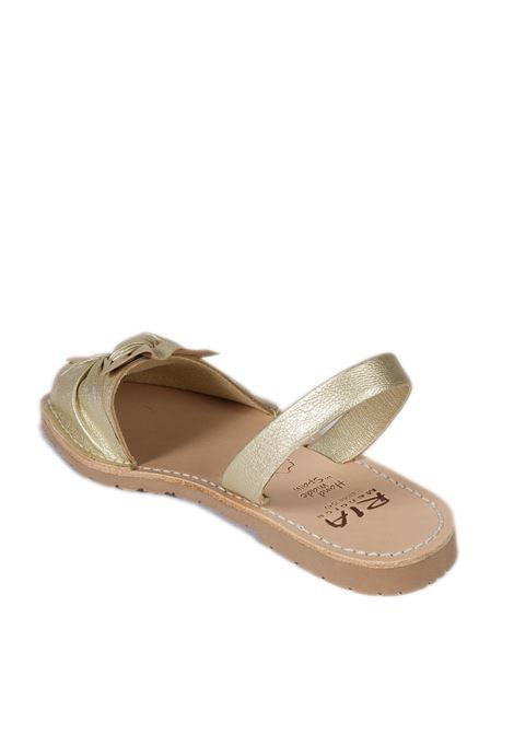 Sandalo flat bow champagne RIA MENORCA | Sandali flats | 27167METALGRAIN-CHAMPANY