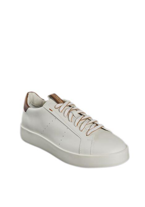 Sneaker pelle bianco/cuoio SANTONI | Sneakers | 21303PELLE-135
