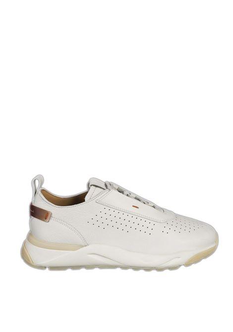 Sneaker pelle bianco SANTONI | Sneakers | 21499PELLE-WHITE