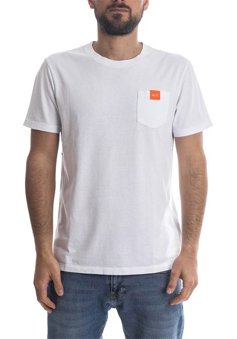 T-shirt pocket logo bianco SUN 68 | T-shirt | T31106POCKET LOGO-BIANCO