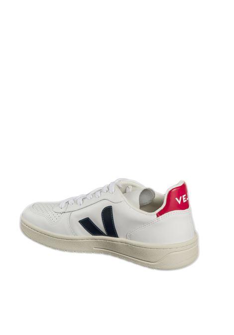 Sneaker v10 pelle bianco/rosso/blu VEJA | Sneakers | V-10ULEATHER-021267