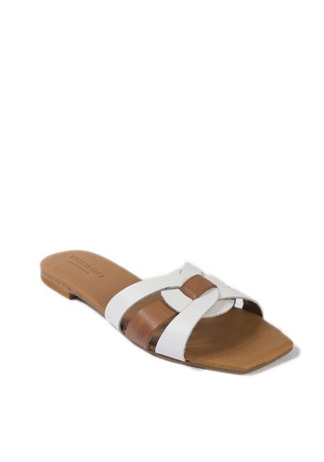 Sandalo quadra bianco VINCENT VEGA | Sandali flats | PQ111VIT-BIANCO