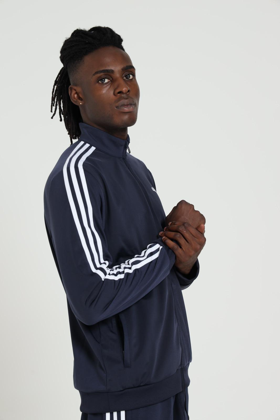 Felpa uomo blue adidas essential tricot 3-stripes ADIDAS | Felpe | DU0445LEGINK/WHITE