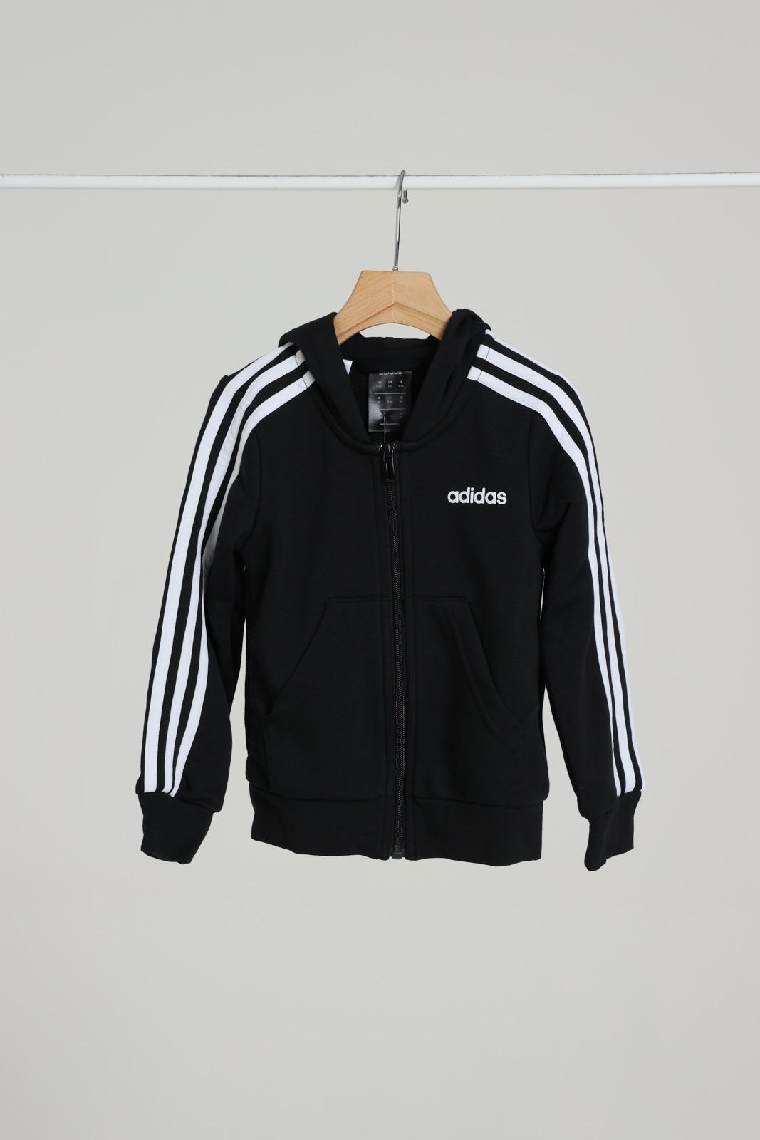 Felpa con zip ADIDAS | Felpe | DV0368BLACK/WHITE