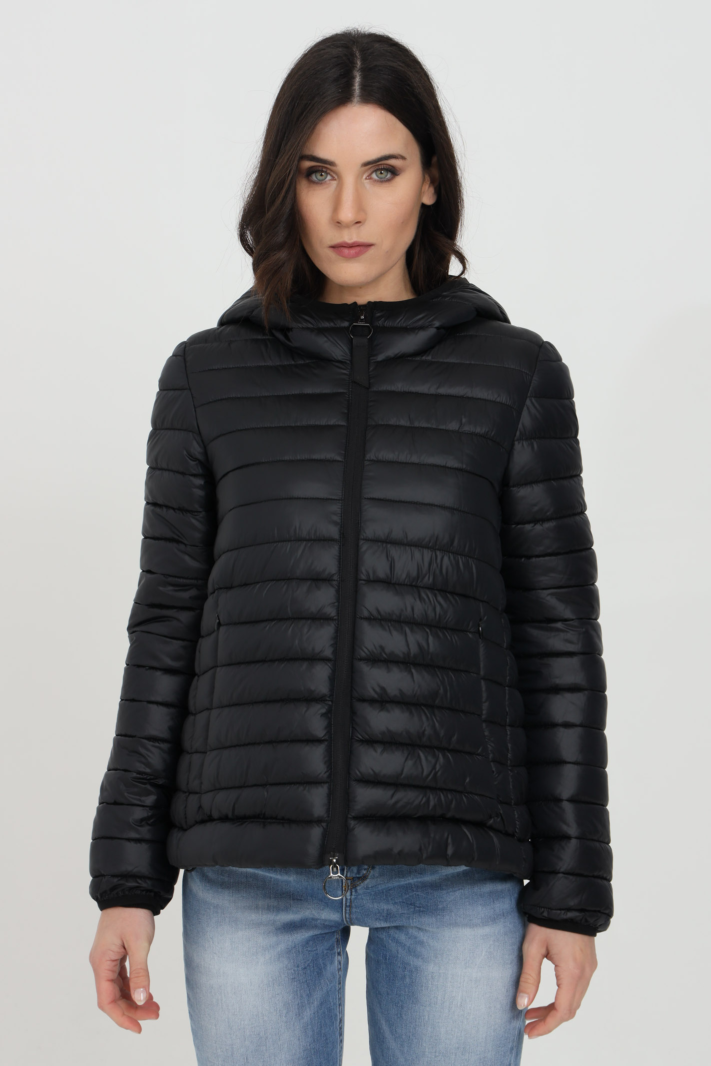 Solid color down jacket with hood and side zip pockets F**K | Jacket | IFKW905Z908BLACK