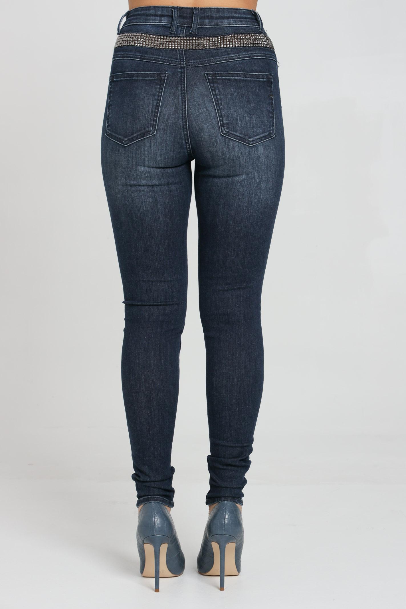 Jeans modello 5 tasche con bande laterali donna
