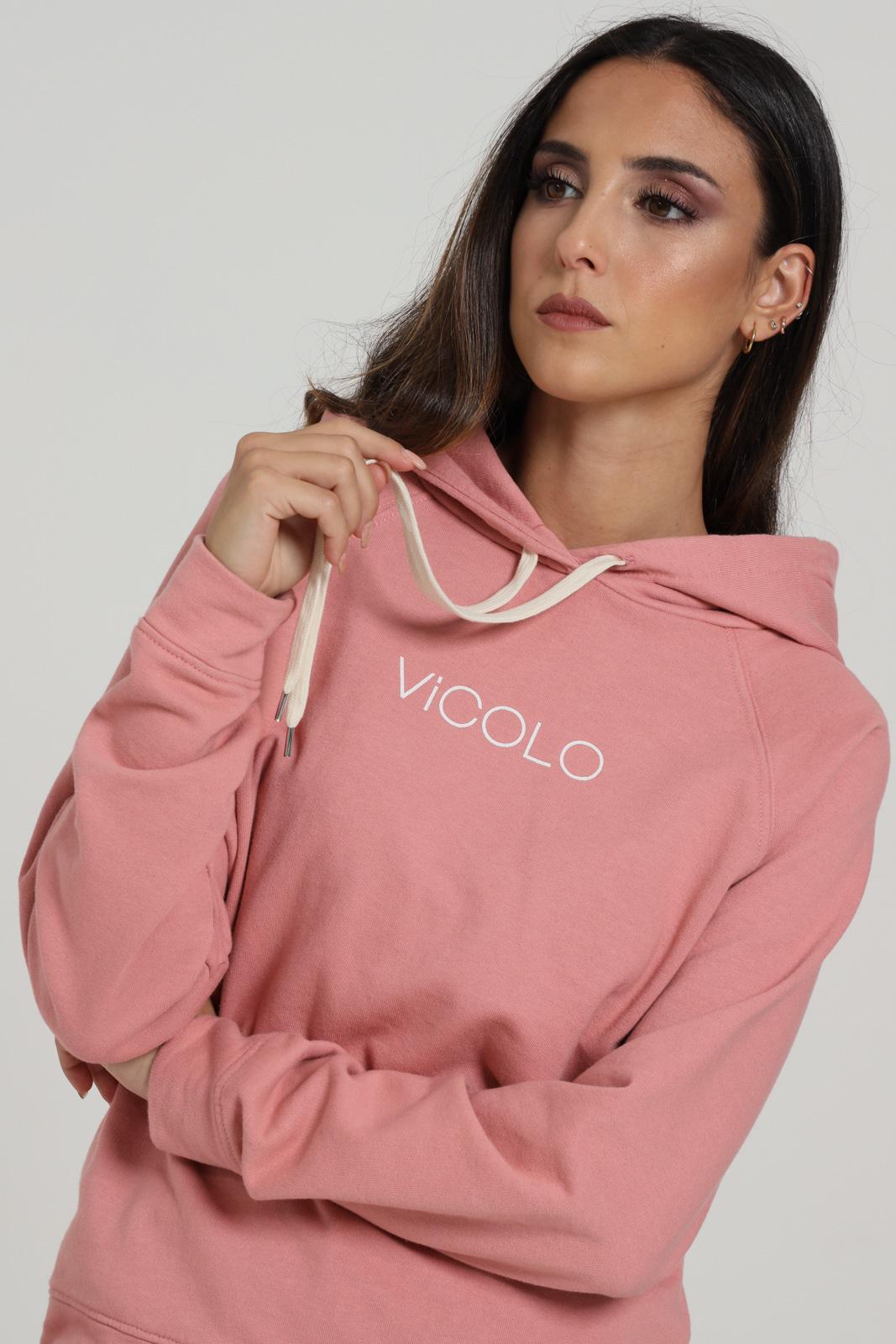 Felpa Con Cappuccio E Logo Centrale VICOLO | Felpe | RW0042ROSA