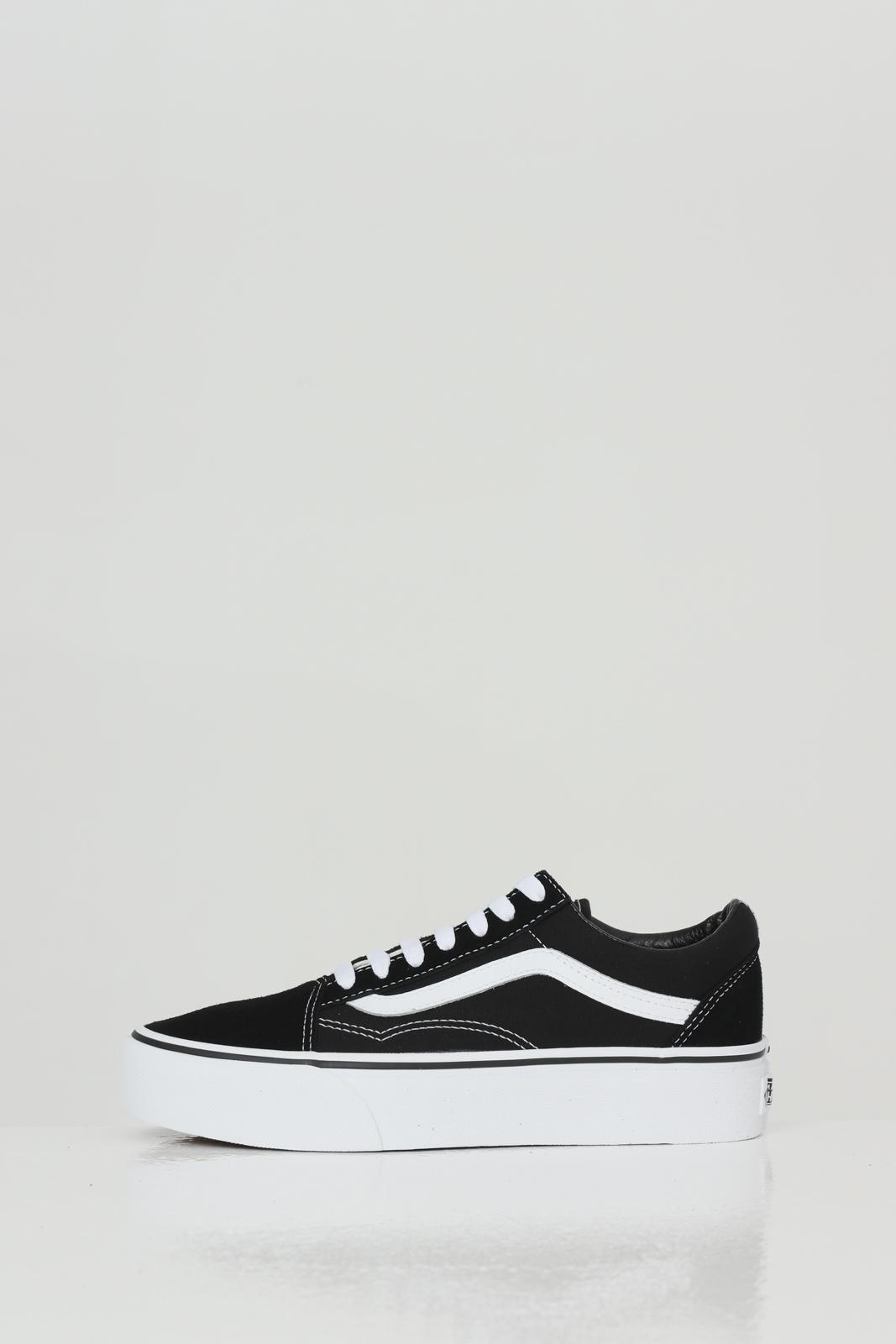 Sneakers old skool platform donna nero vans con logo a contrasto