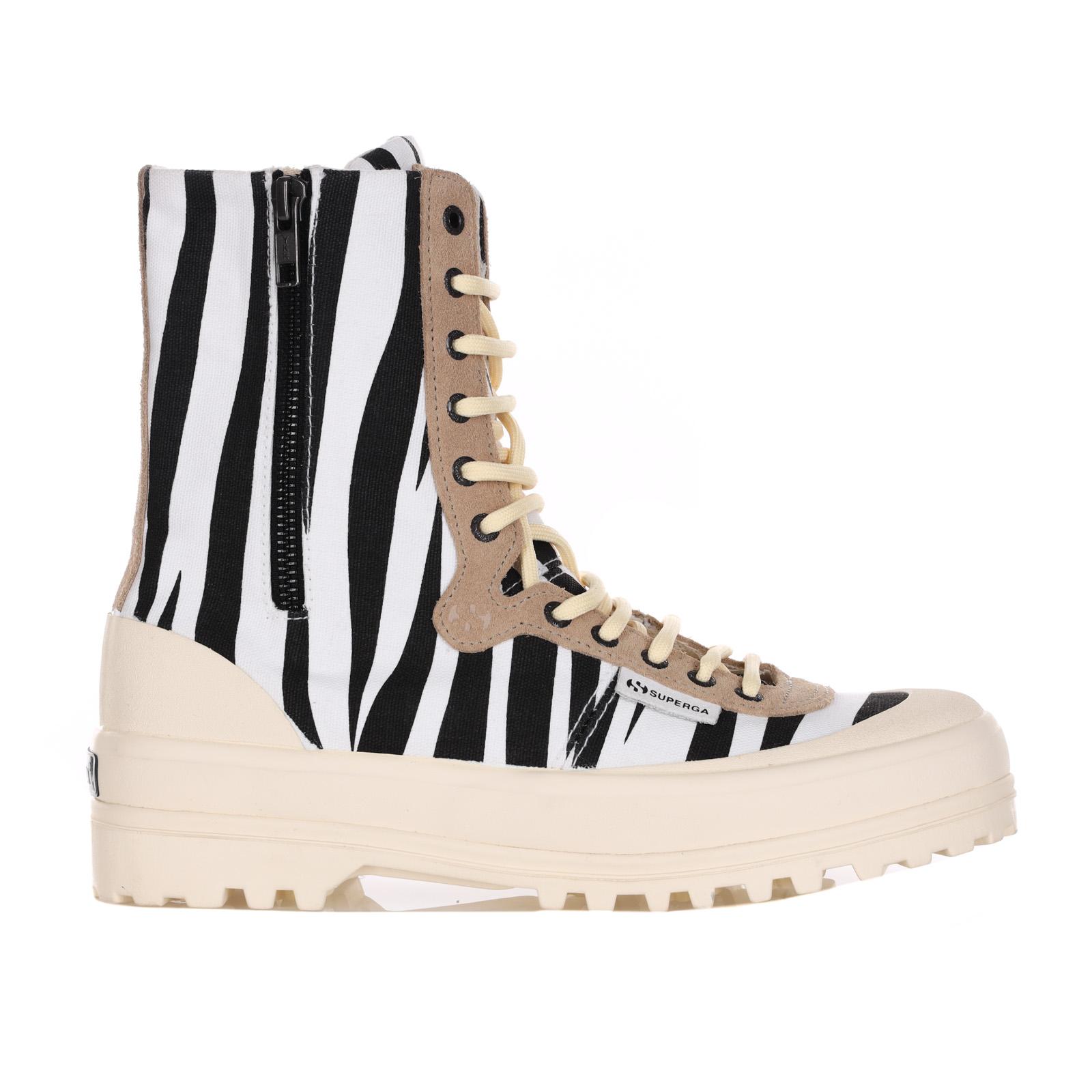 Sneakers Animalier Con Chiusura In Zip E Lacci SUPERGA X PAURA | Sneakers | S6111BWBLACKZEBRA.