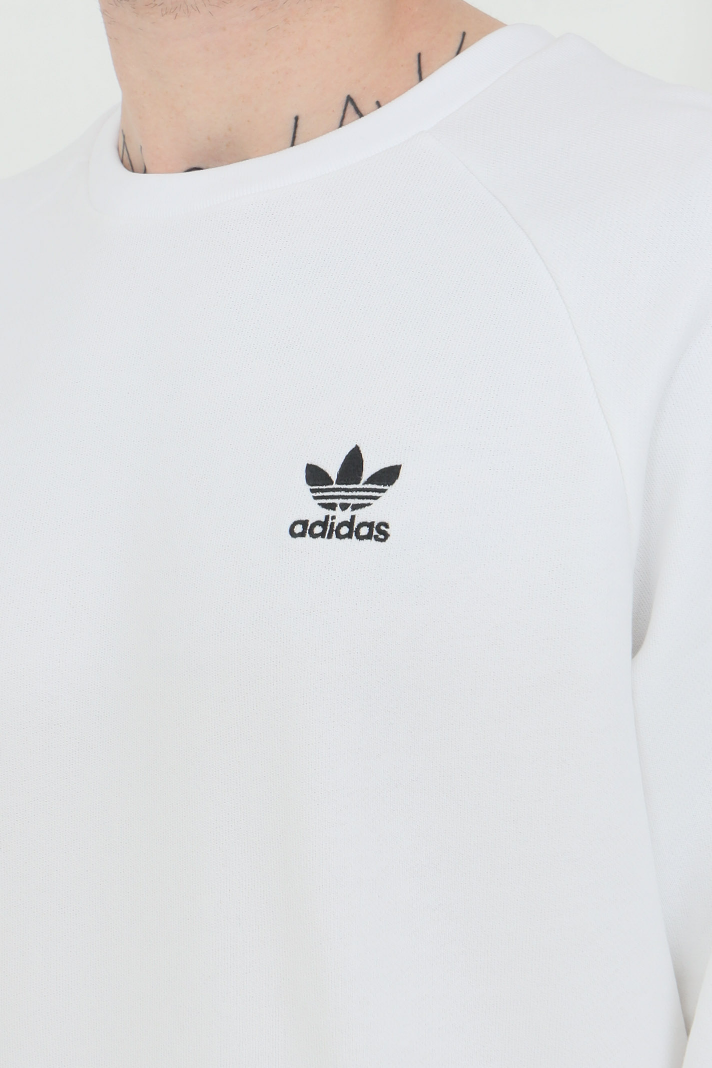 White men's sweatshirt adidas crew neck loungewear trefoil essentials ADIDAS | Sweatshirt | ED6208.
