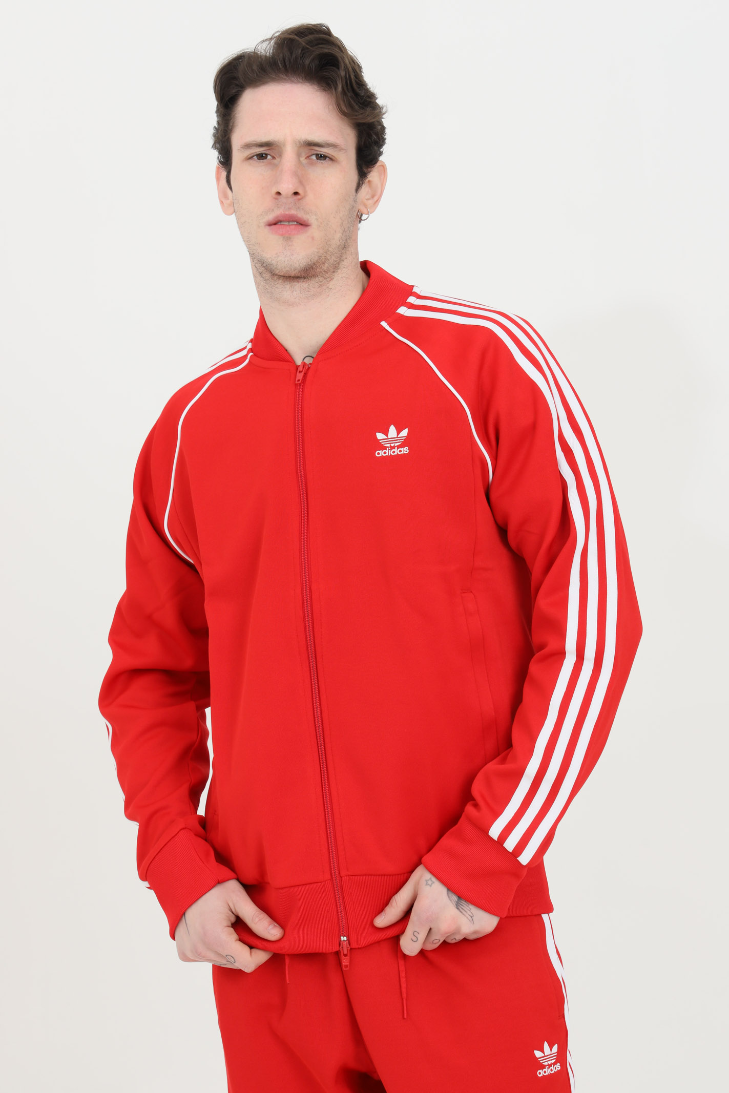 Felpa uomo rossa adidas con zip in tinta unita ADIDAS   Felpe   GF0196.