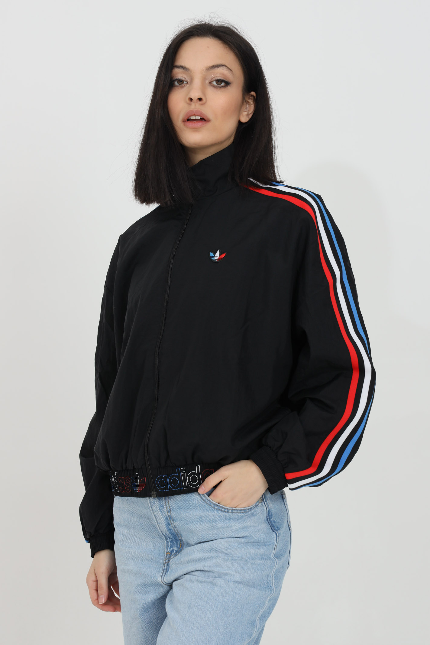 Wind jacket with full zip and multicolor bands ADIDAS | Jacket | GT8464.