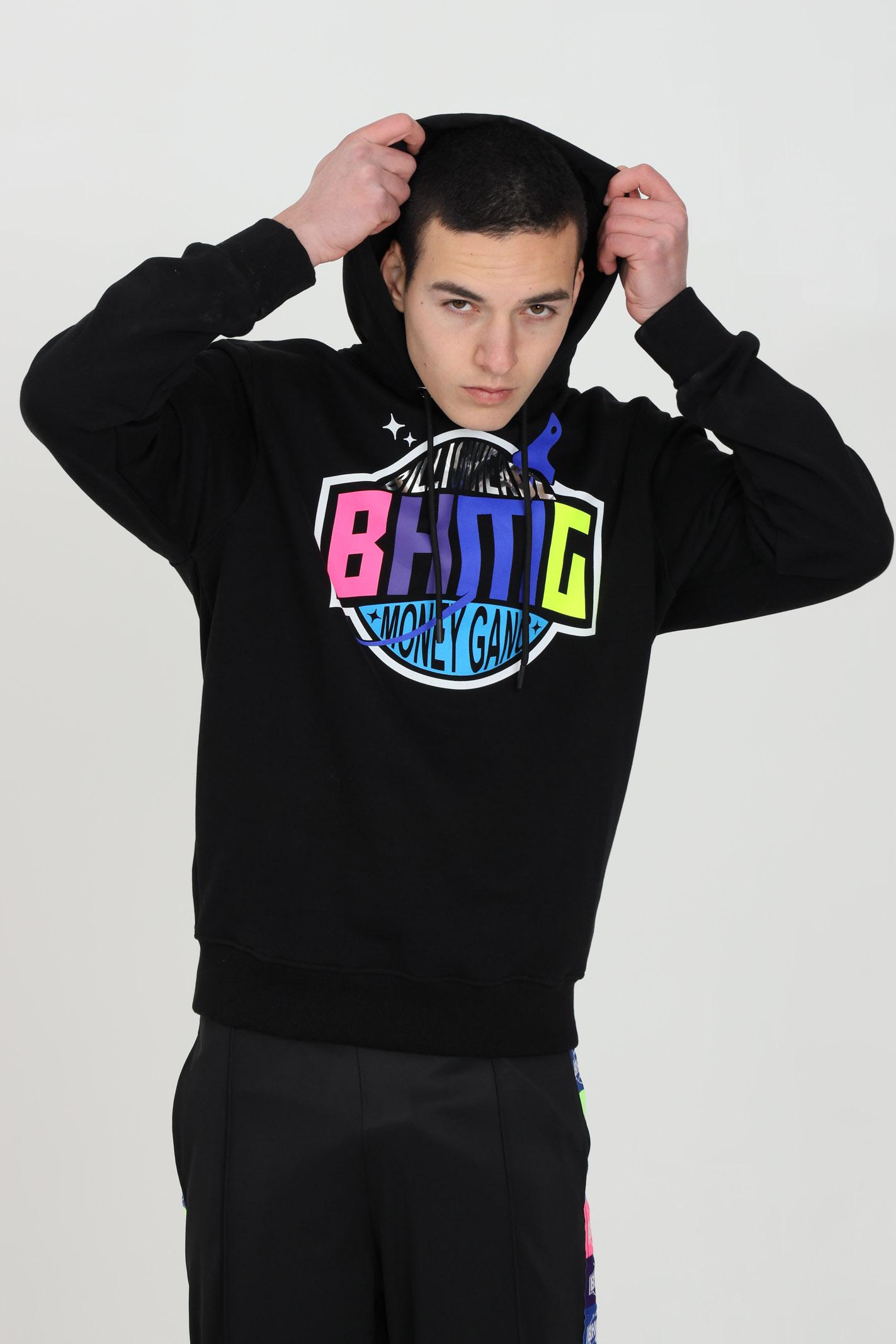 Black sweatshirt with hood and front logo.Bhmg BHMG | Sweatshirt | 029035110