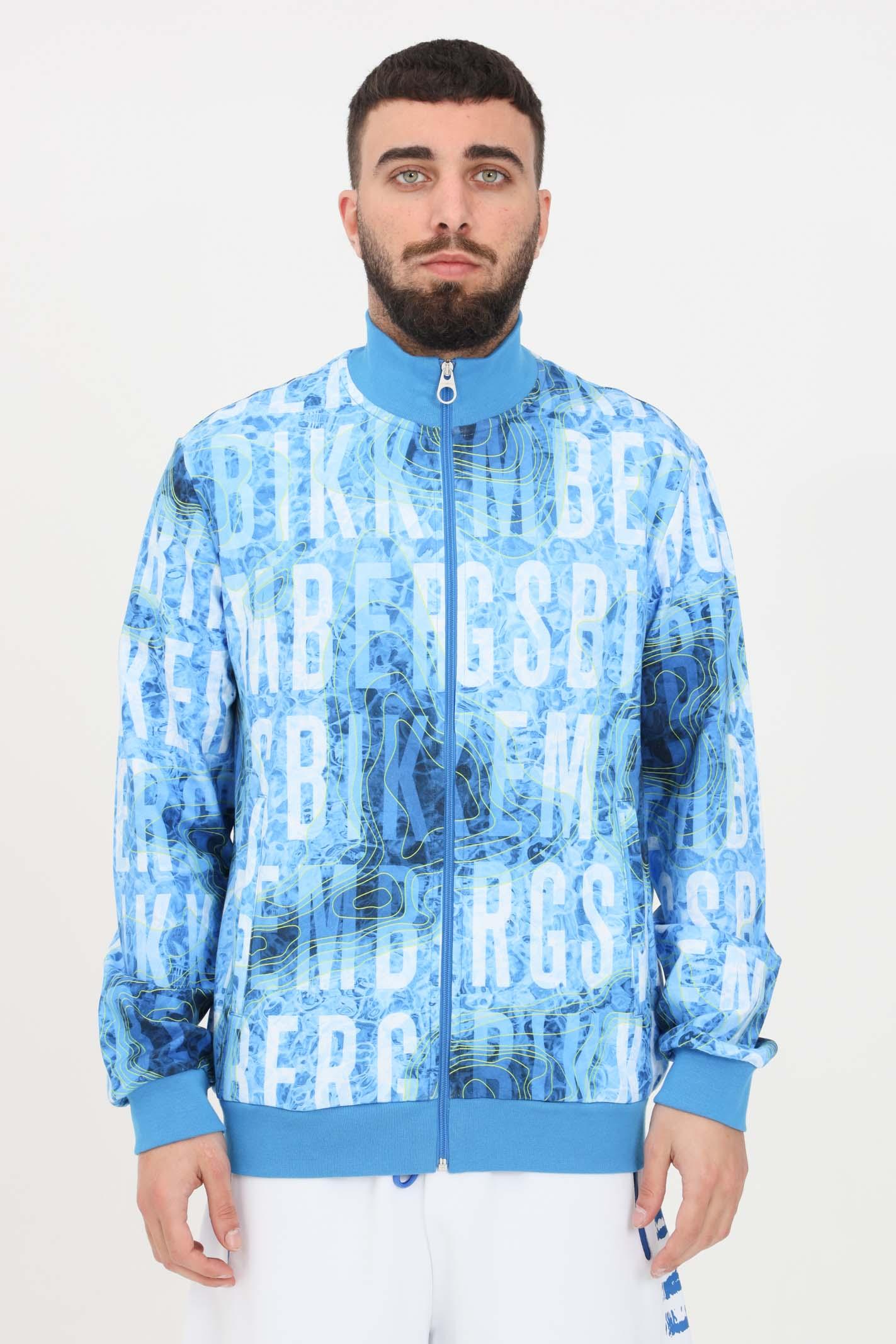 Felpa uomo blue bikkembergs con zip e stampa allover BIKKEMBERGS | Felpe | C305100E22510021