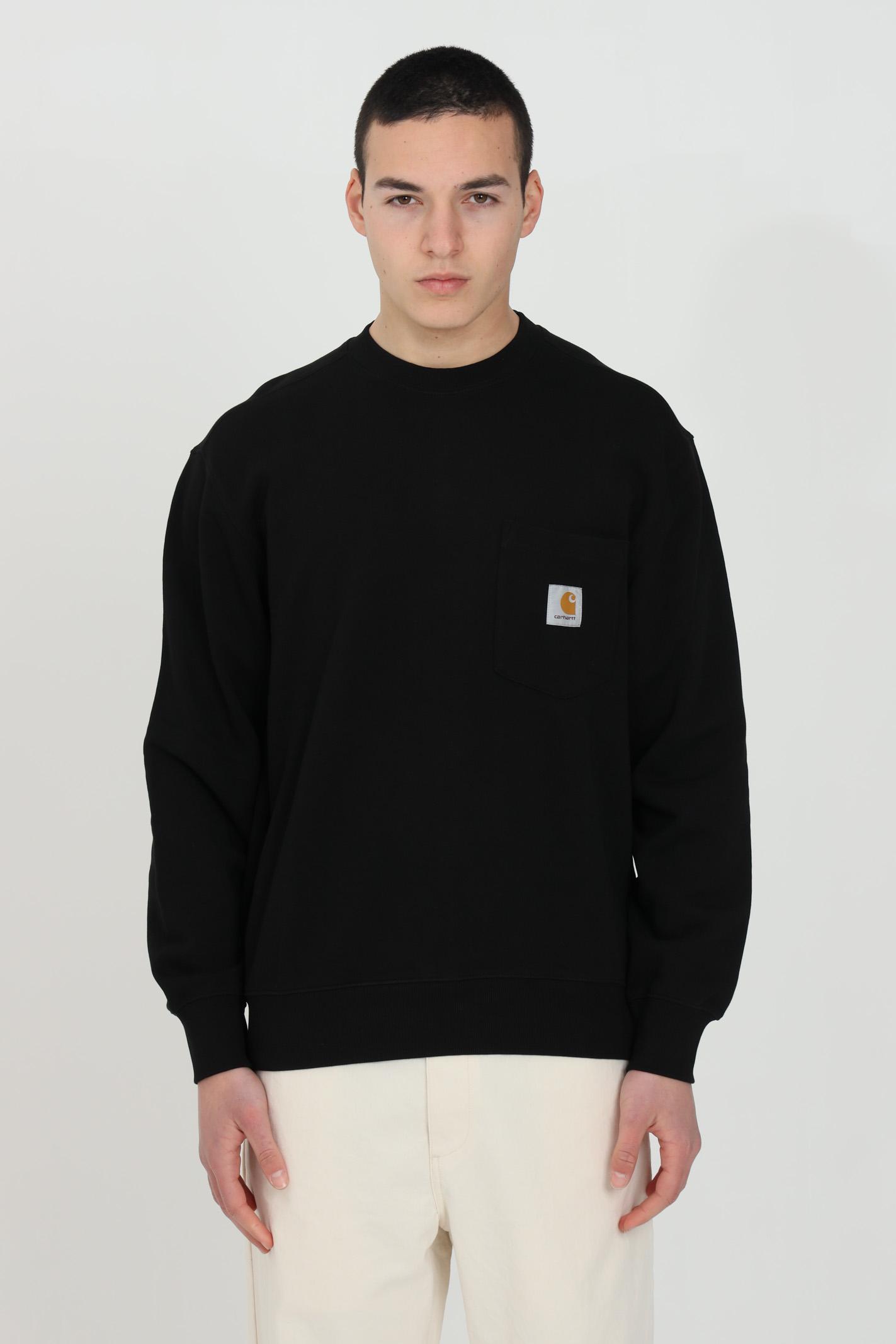 Felpa Pocket Sweatshirt uomo nero carhartt girocollo CARHARTT | Felpe | I027681.0389.00