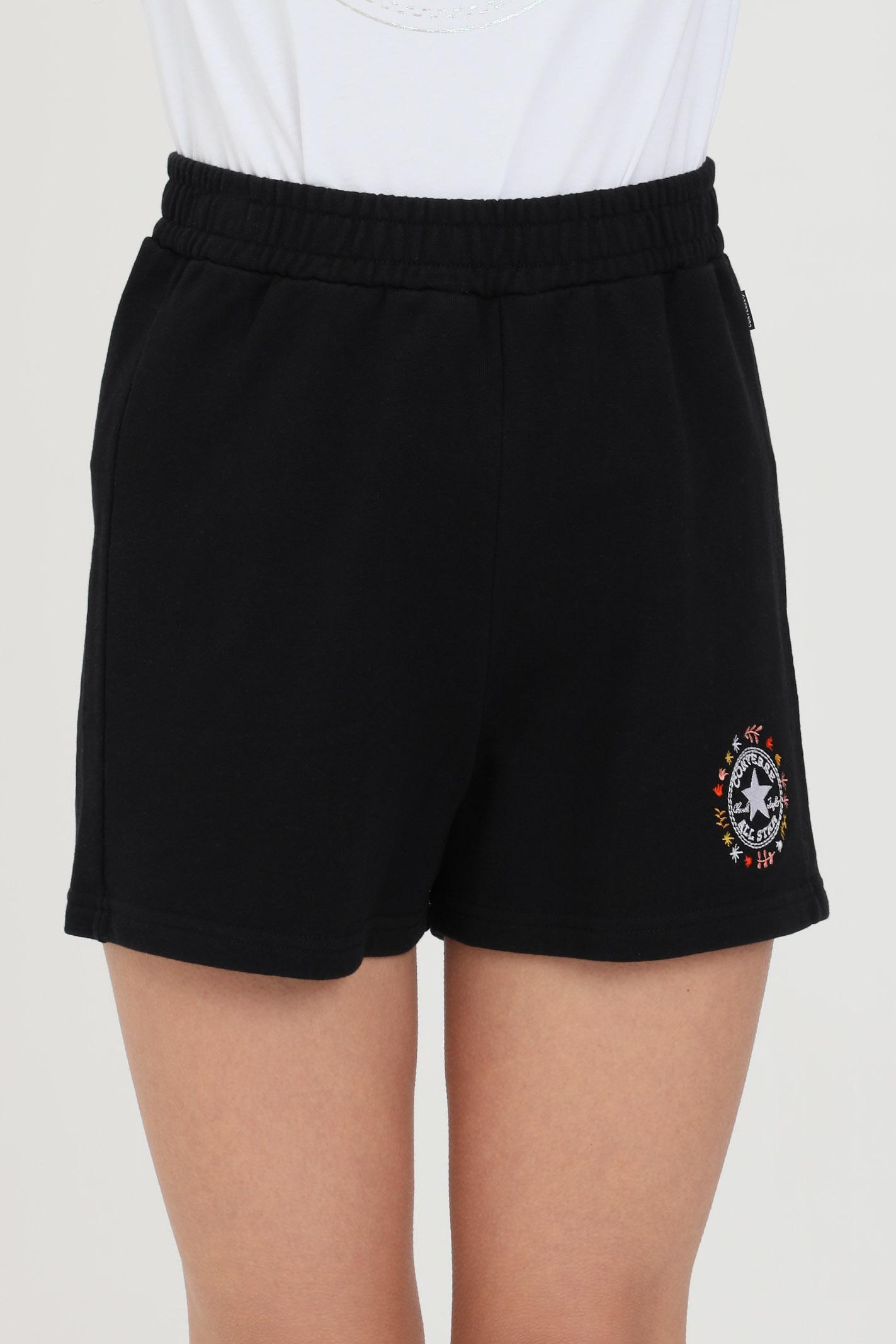 Shorts chuck taylor wander donna nero Converse casual con elastico in vita e tasche laterali CONVERSE | Shorts | 10022605-A02A02