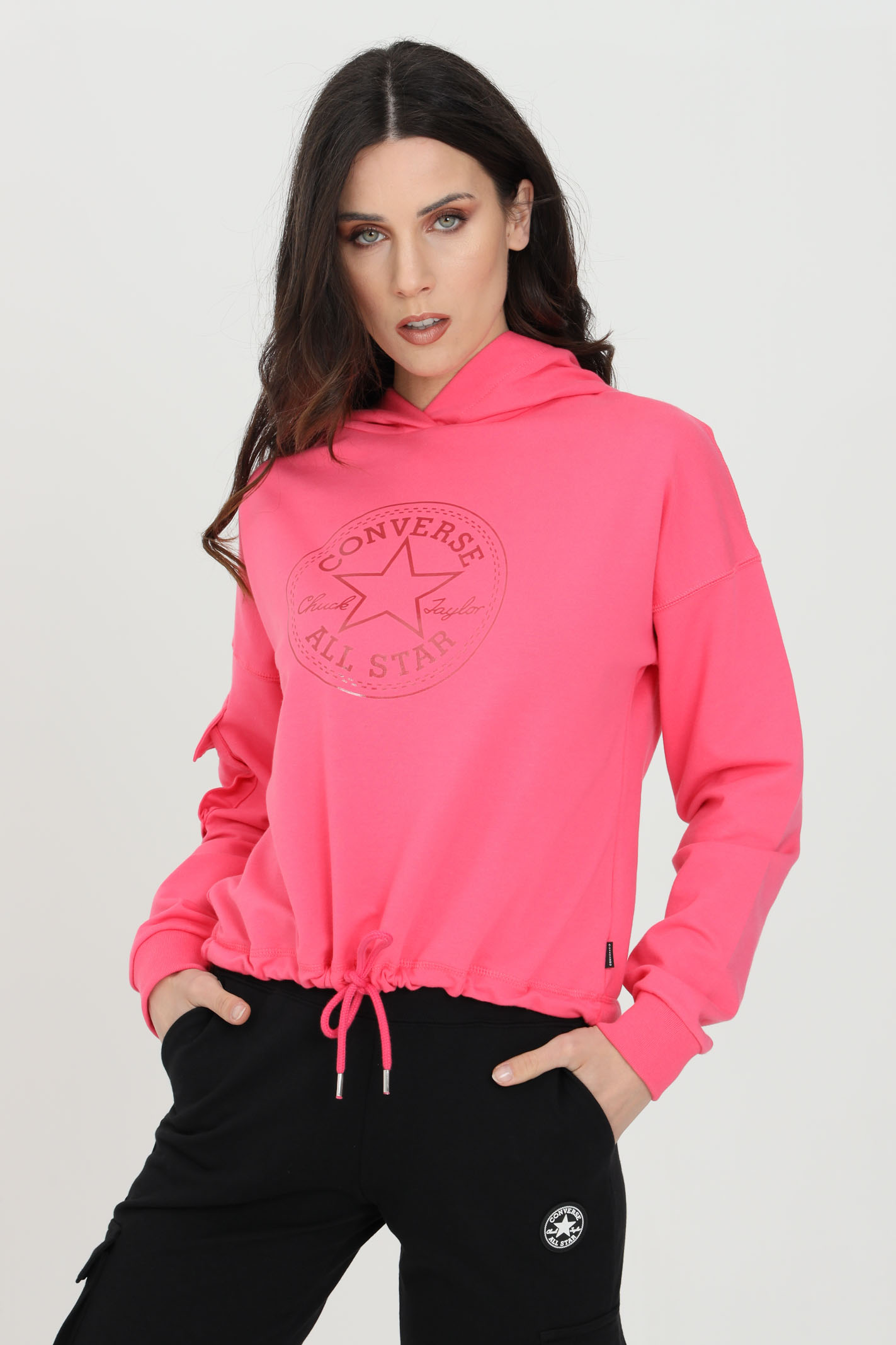 Pink hoodie with pocket on the right sleeve. Tone-on-tone front print. Converse CONVERSE | Sweatshirt | 10022635-A02A02