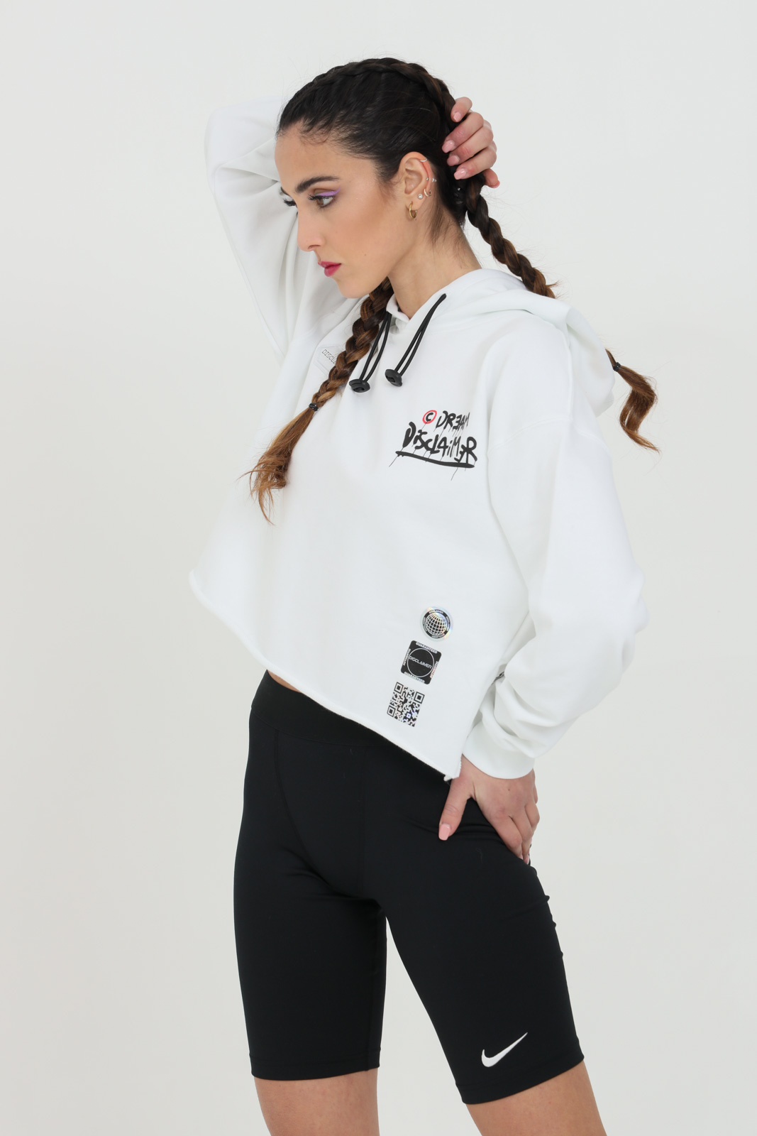 Sweatshirt with hood and laces. Maxi print on the back in silk-screen printing DISCLAIMER | Sweatshirt | 21EDS50641BIANCO
