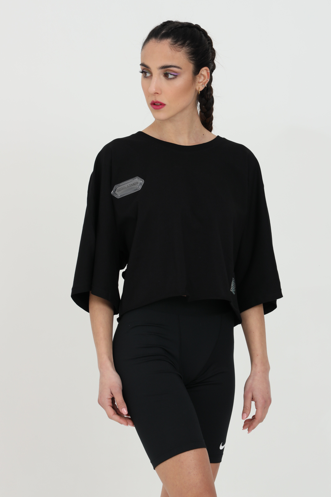 Black t-shirt short sleeve with short cut and over sleeves. Maxi print on the back.Disclaimer DISCLAIMER | T-shirt | 21EDS50647NERO