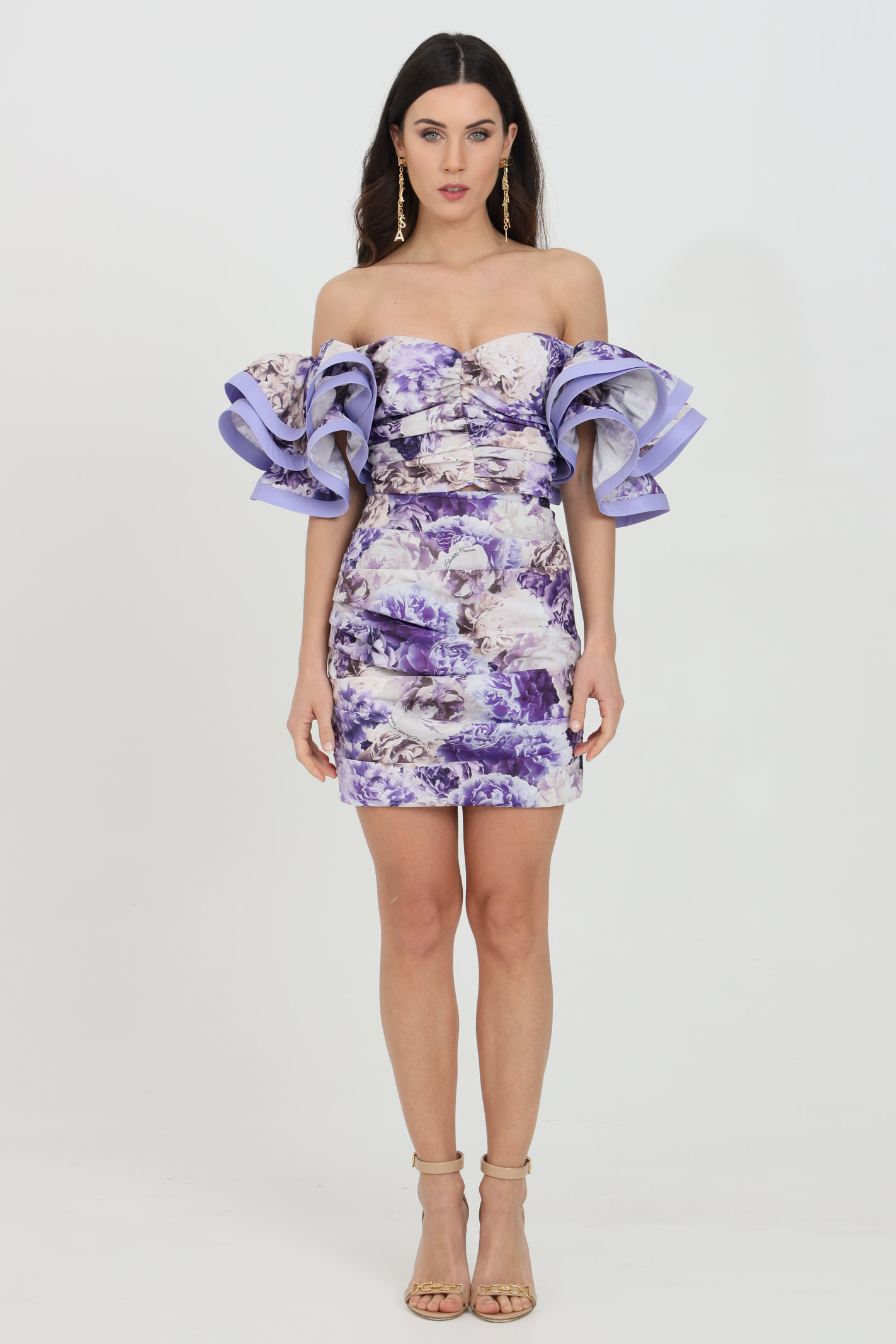 Top and skirt with floral pattern ELISABETTA FRANCHI | Dress | TG00211E2Q38