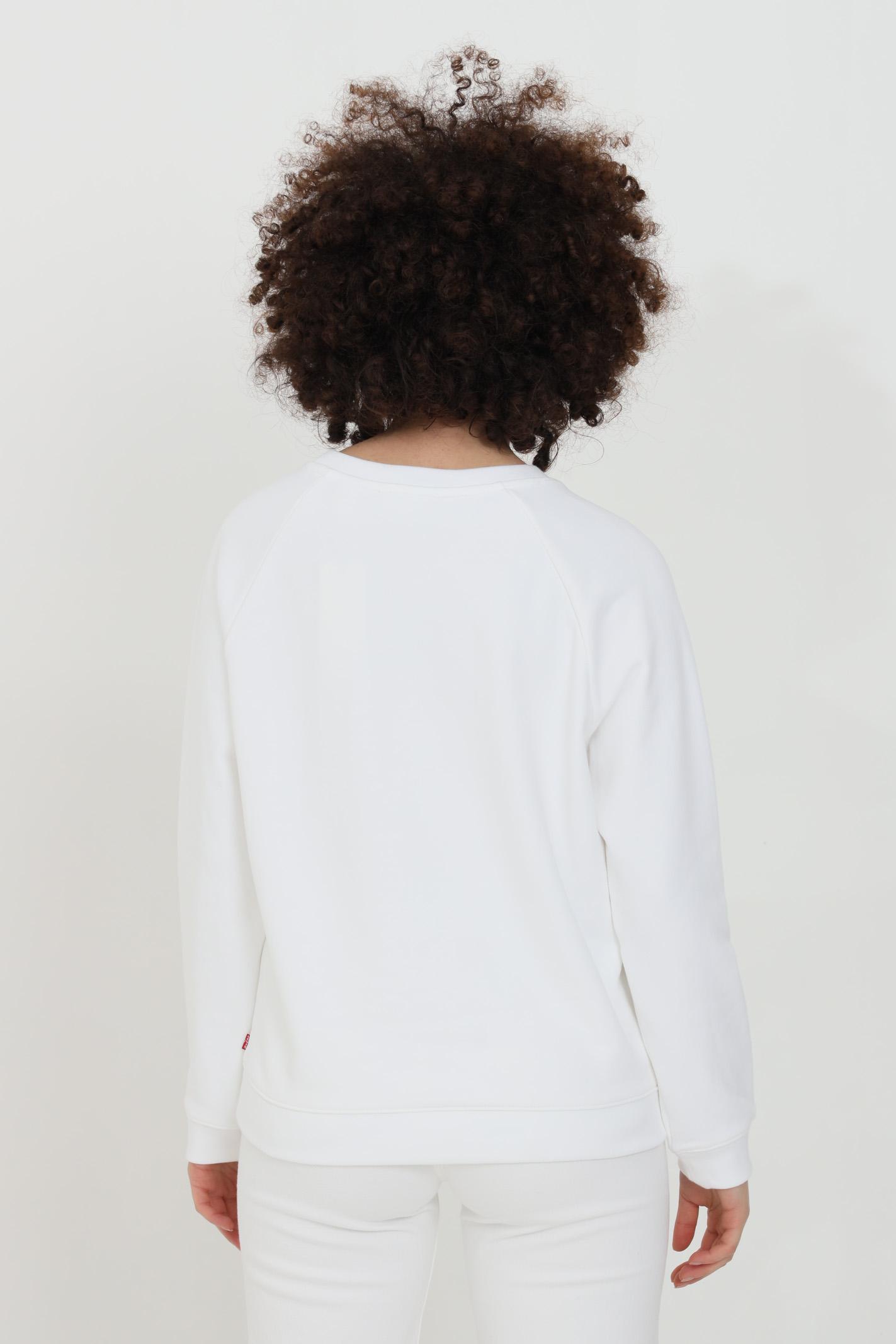 Felpa bianca relaxed con logo frontale e girocollo a costine LEVI'S | Felpe | 29717-00140014