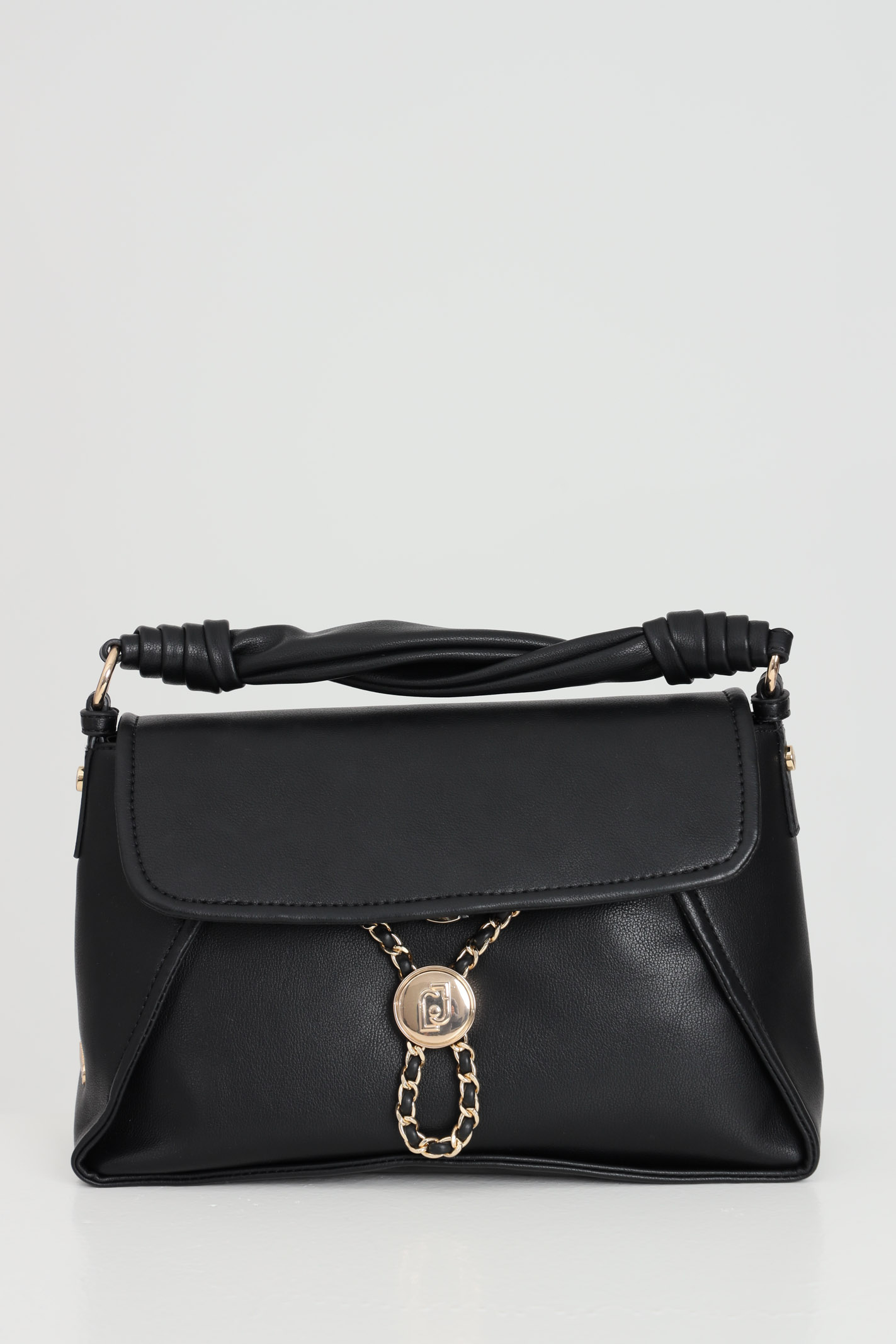 Image of Borsa donna nero liu jo shopper con logo Liu Jo metallico con catena, chiusura con patta e meccanismo metallico a scatto