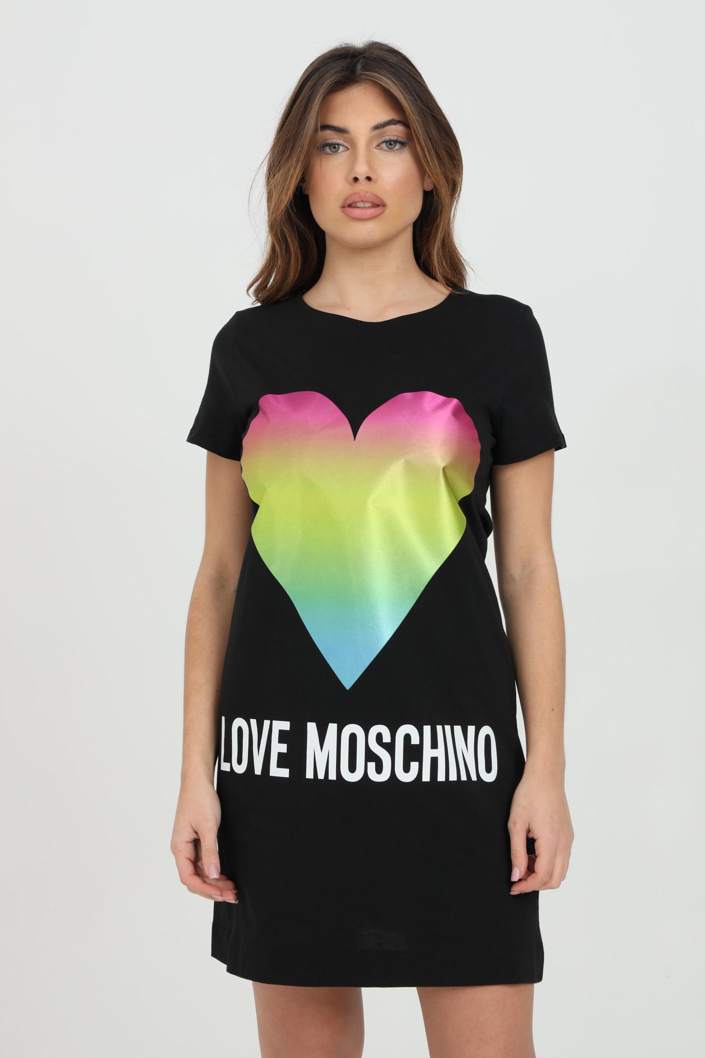 Abito midi girocollo con stampa cuore satinato LOVE MOSCHINO | Abiti | W592914M3876C74