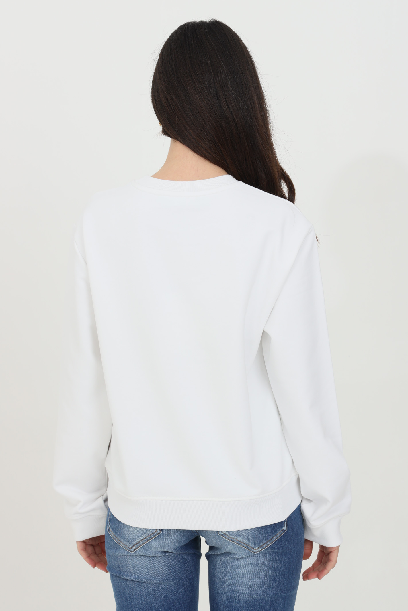 White sweatshirt with holographic logo. Ribbed crew neck, bottom and cuffs. Comfortable model. Love moschino LOVE MOSCHINO   Sweatshirt   W630638M4266A00