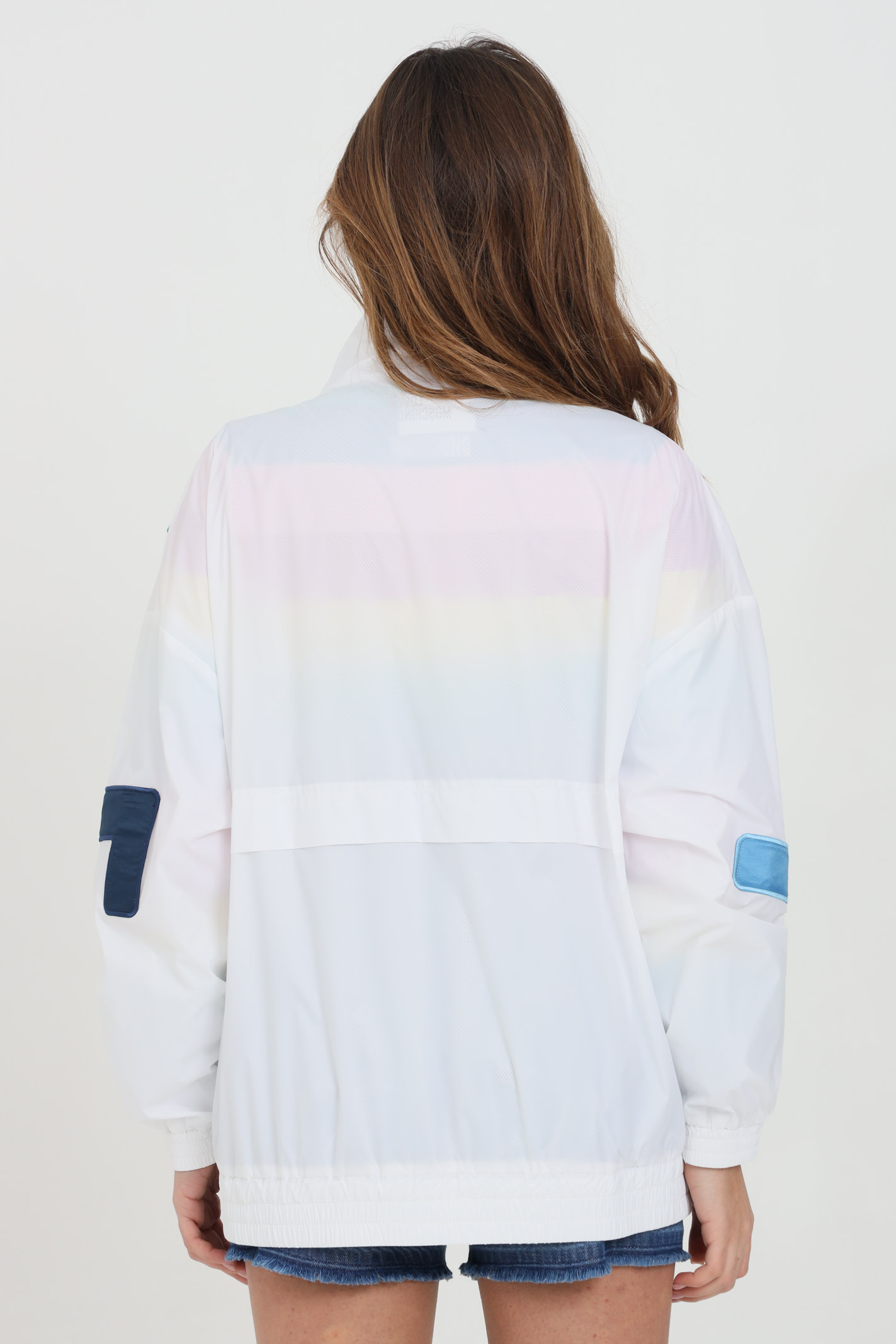 White jacket with multicolor lettering print LOVE MOSCHINO | Jacket | WH76181T082AA00