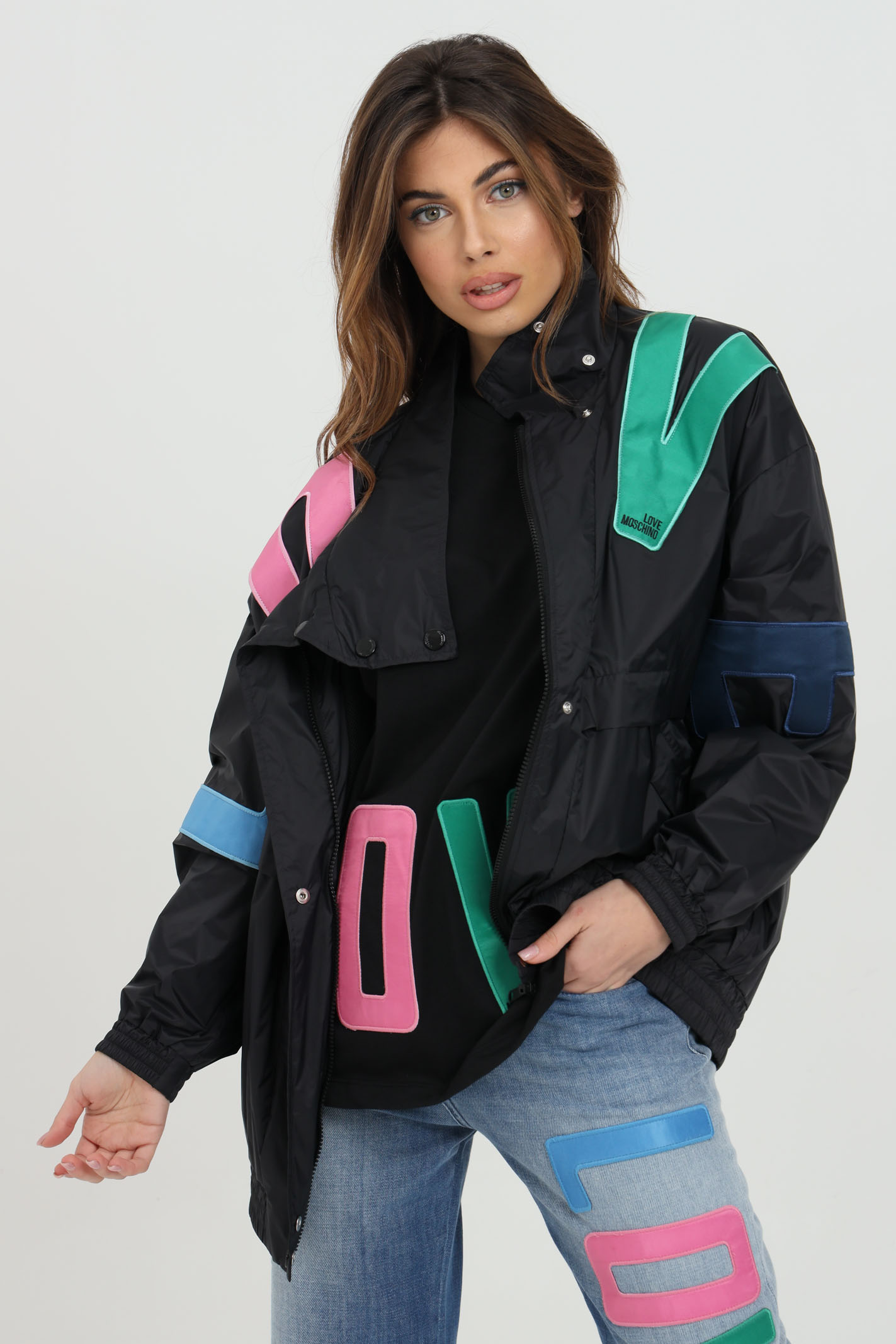 Black jacket with multicolor lettering print LOVE MOSCHINO | Jacket | WH76181T082AC74