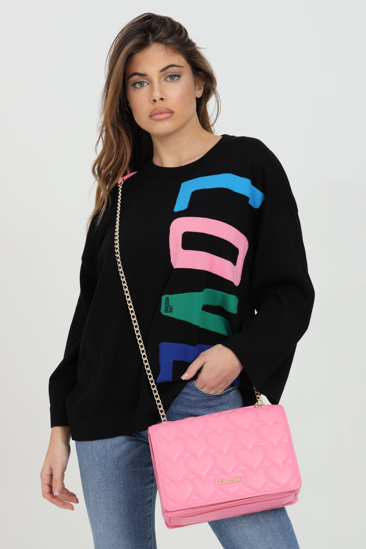 Sweater with multicolor logo on the front LOVE MOSCHINO | Sweatshirt | WS62G11X0985C74