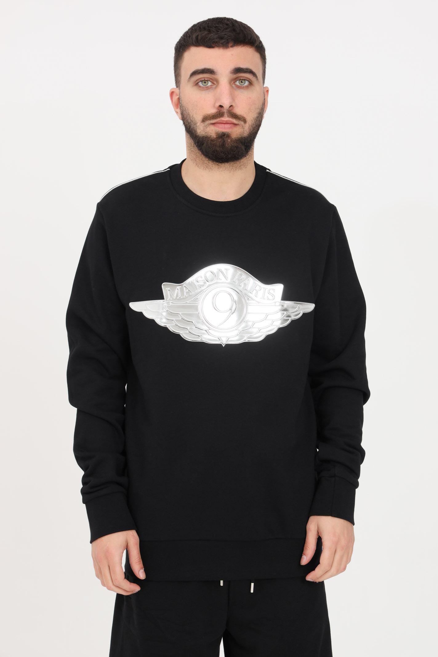 Black crew neck sweatshirt. Maison 9 paris  MAISON 9 PARIS   Sweatshirt   M9F2107NERO