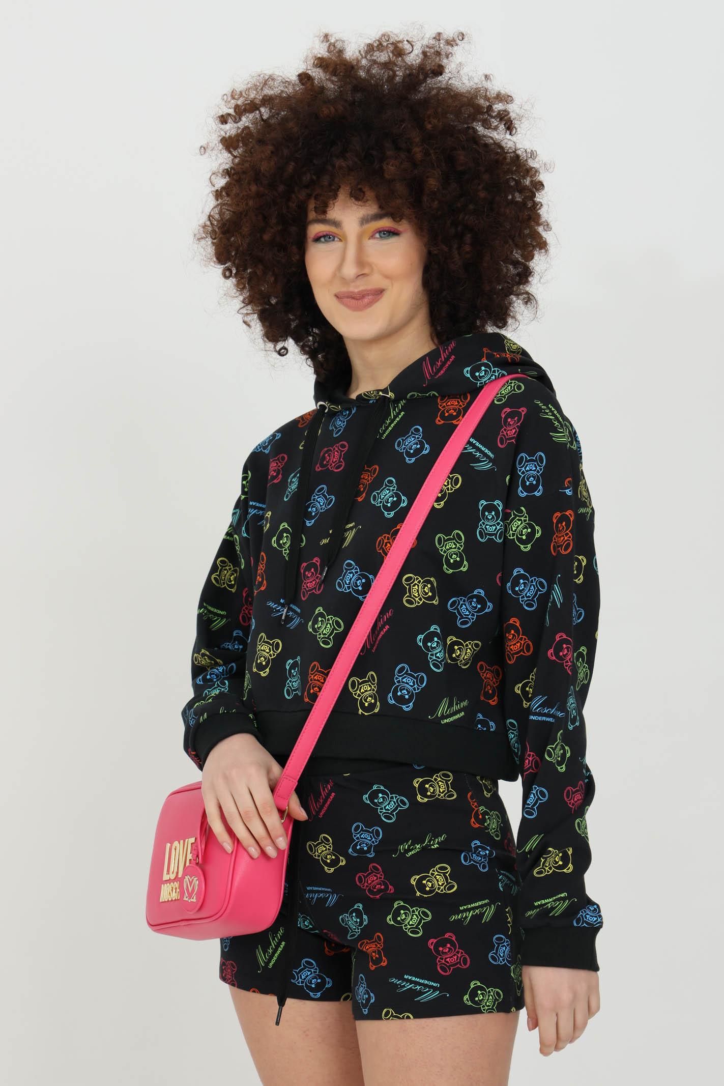 Black hoodie with bears pattern print, short cut. Over size model. Moschino MOSCHINO | Sweatshirt | A170690091555