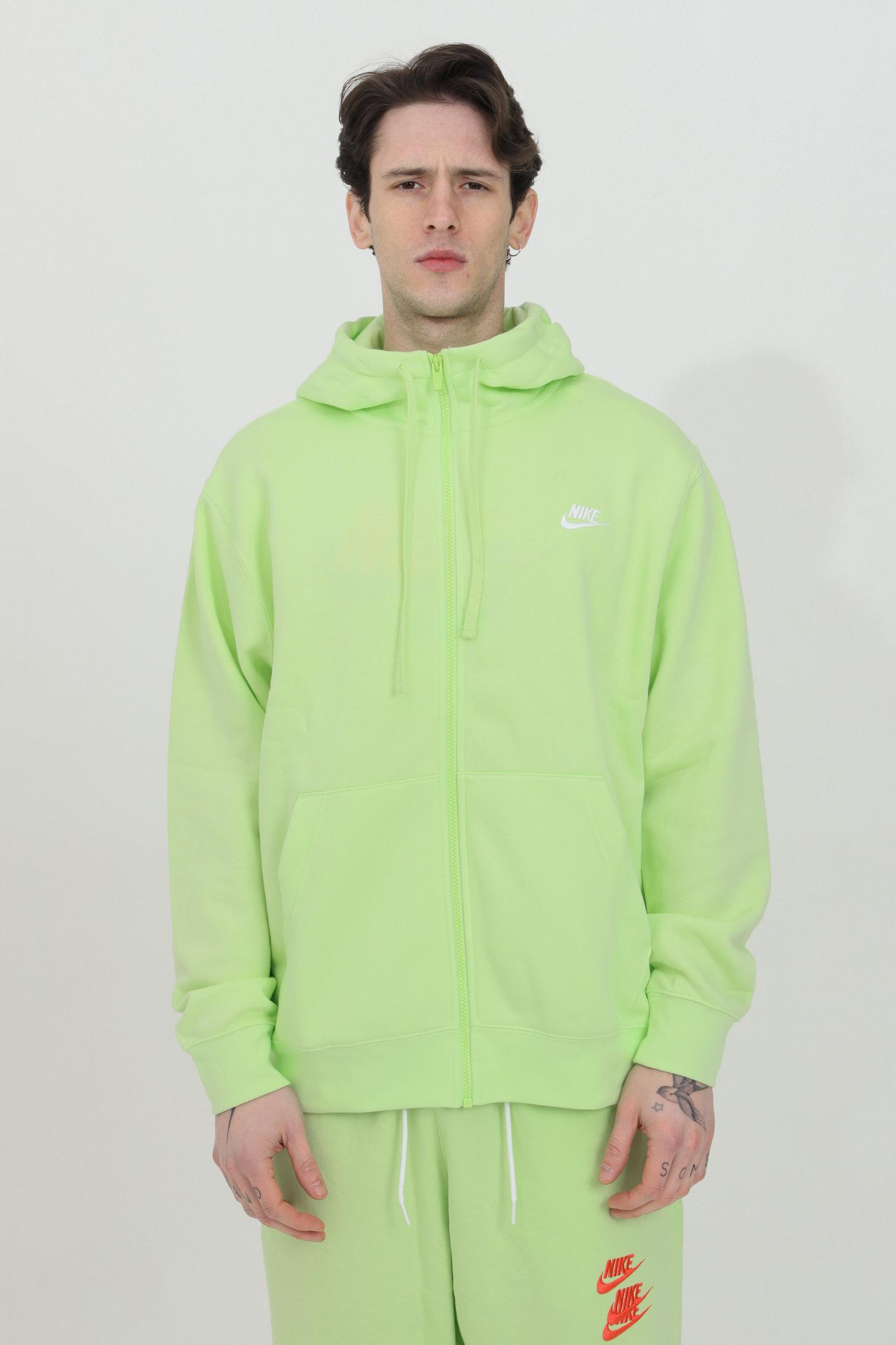 Lime hoodie with front zip. Nike NIKE | Sweatshirt | BV2645383