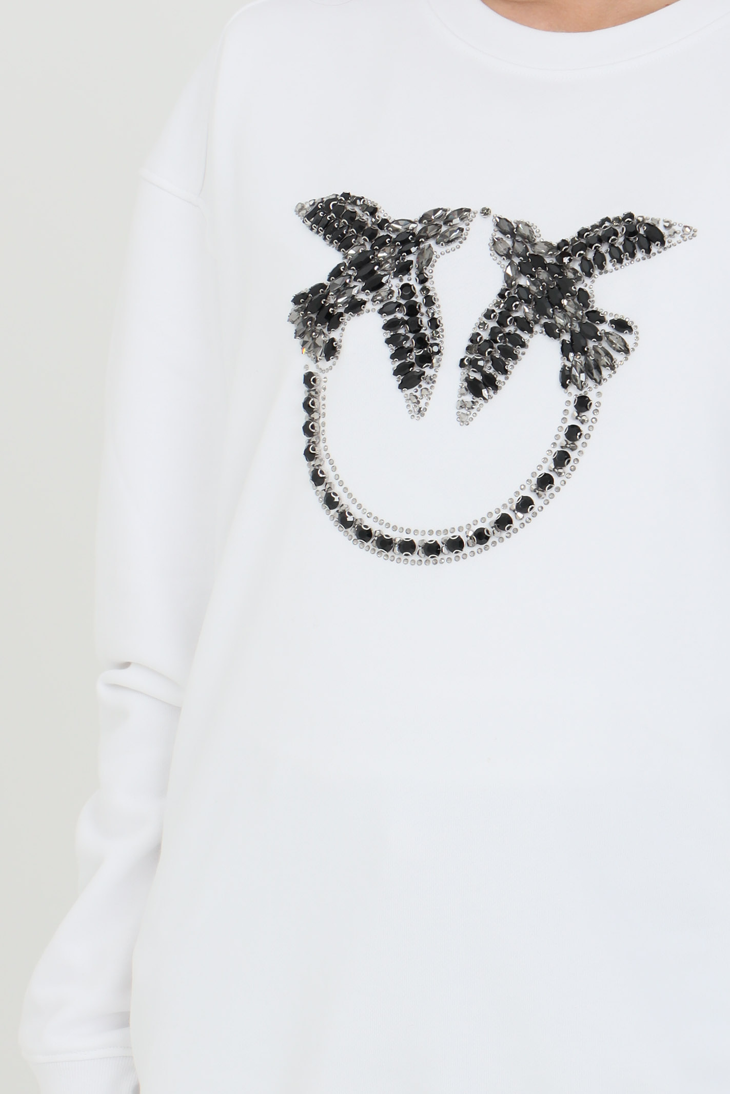 White Love Birds sweatshirt with rhinestones on the front. Pinko PINKO | Sweatshirt | 1G160Y-Y722ZZ1