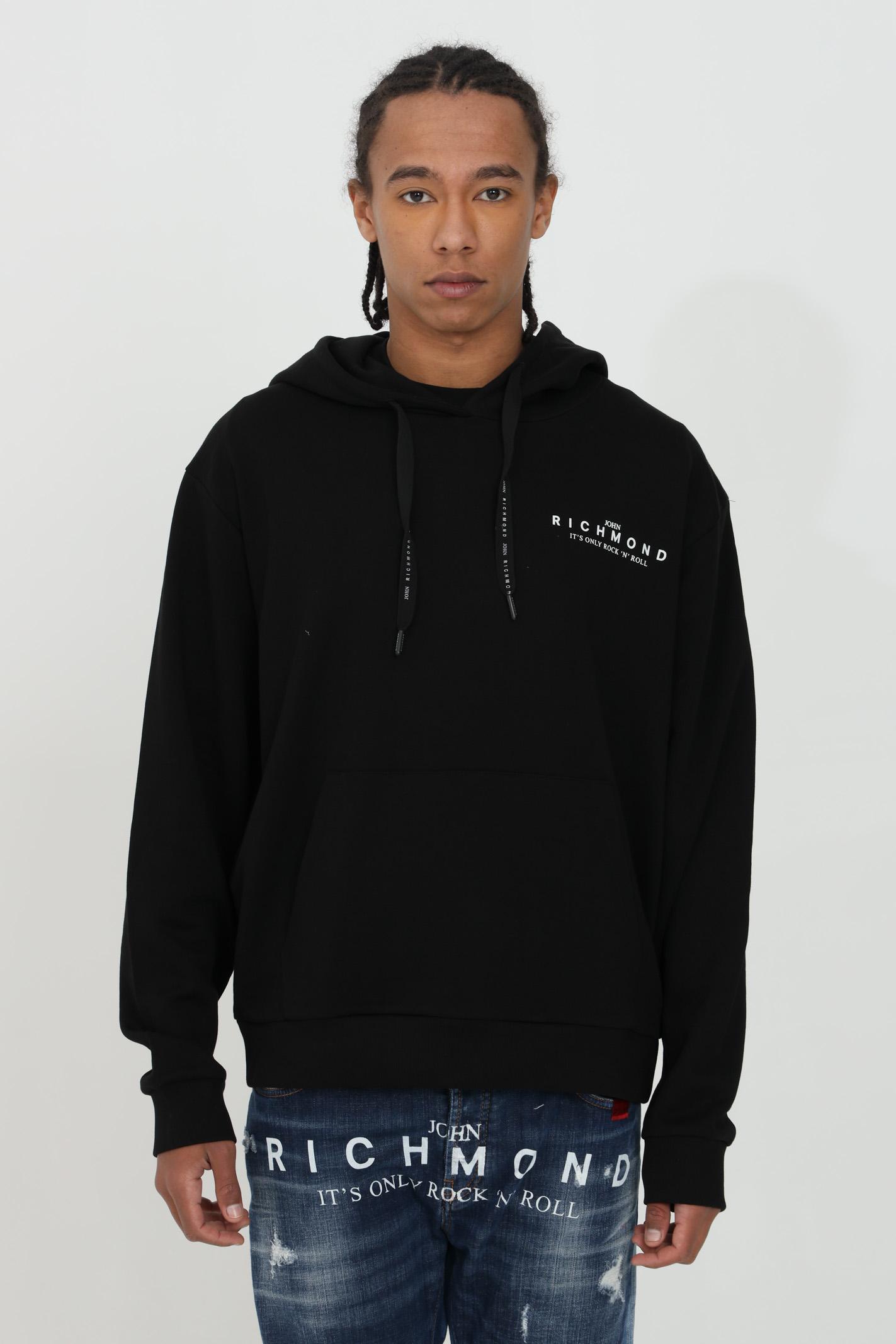 Atikin drawstring sweatshirt with hood and laces RICHMOND | Sweatshirt | RMP21207FEXXBLACK