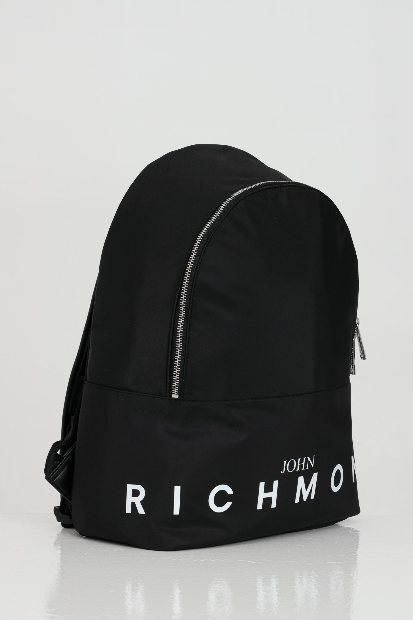 Zaino con maxi logo sul fronte e zip RICHMOND | Zaini | RMP21249ZA8ABLACK