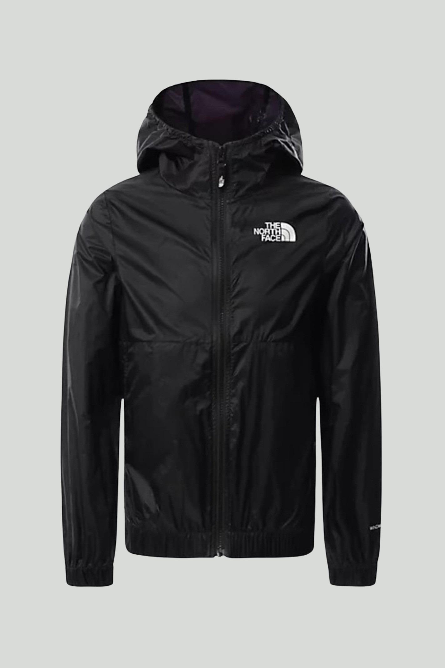 Giubbotto bambino/a nero The north face, modello giacca a vento con cappuccio e zip, e logo frontale a contrasto THE NORTH FACE | Giubbotti | NF0A558JJK31JK31