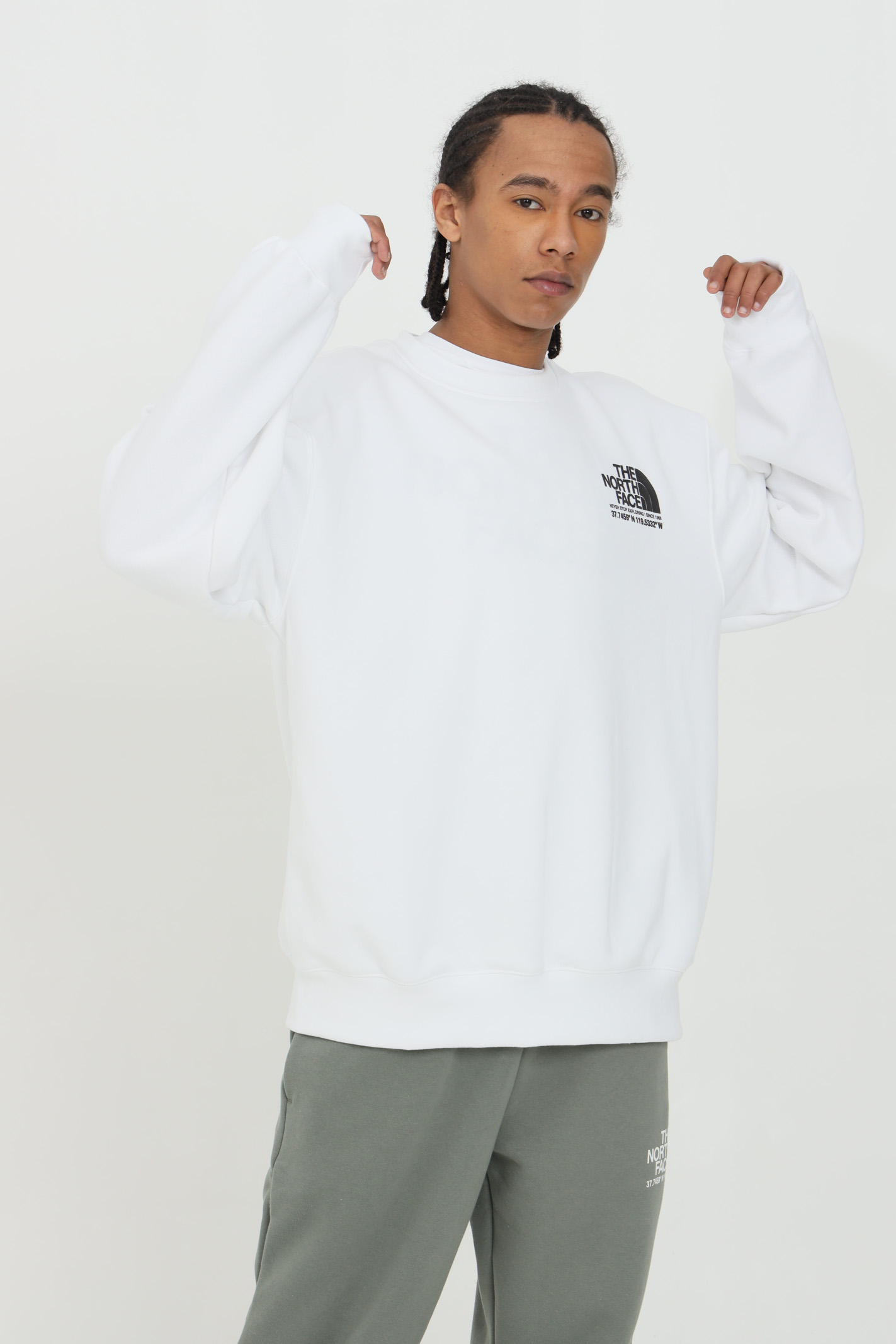 White sweatshirt with print on the back, crew neck. Elastic cuffs and bottom. Comfortable model. The north face  THE NORTH FACE | Sweatshirt | NF0A55MXFN41FN41
