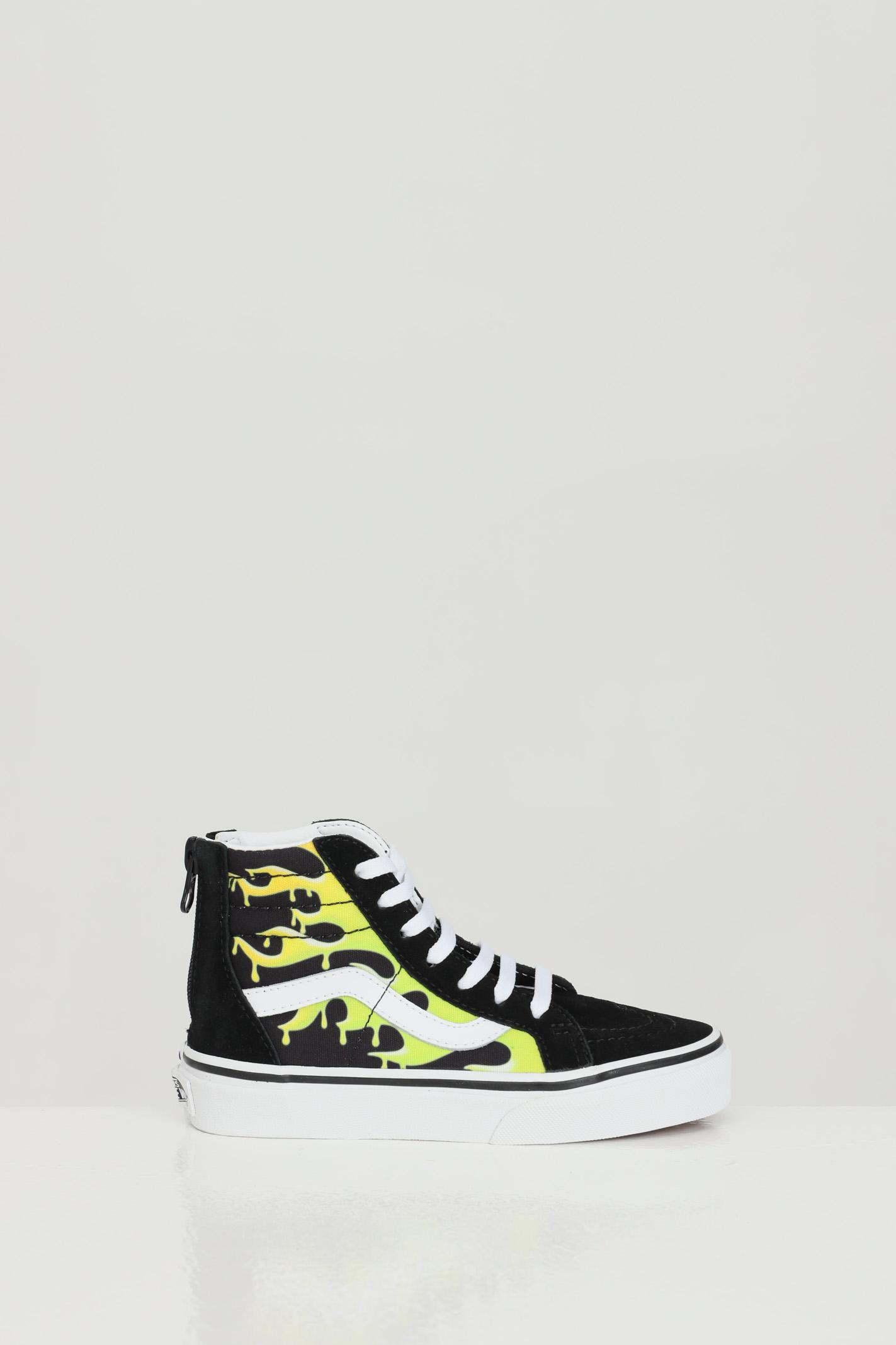 Sneakers slime flame sk8-hi bambino unisex nero vans modello a stivaletto stampa fiamme