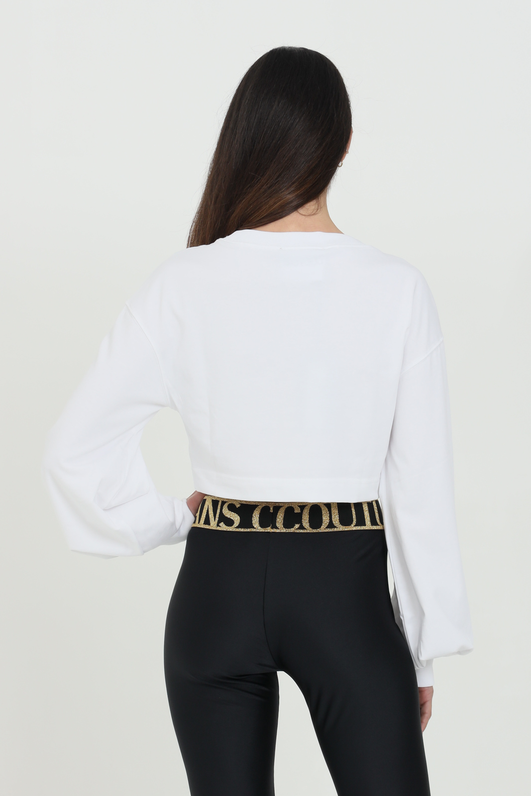 Felpa donna bianca Versace Jeans Couture girocollo crop manica lunga con stampa frontale VERSACE JEANS COUTURE | Felpe | B2HWA7KB10634003