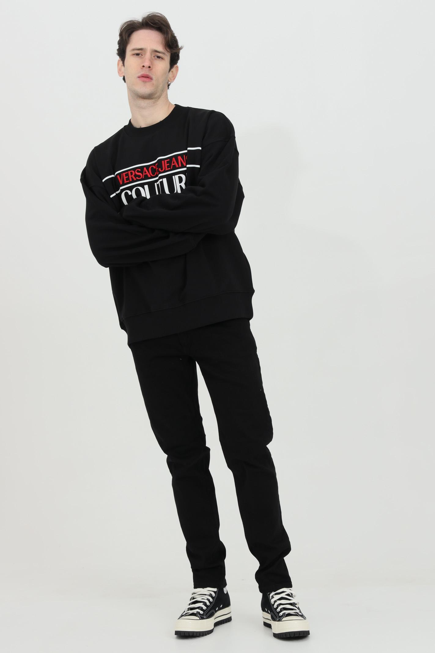 Black sweatshirt with maxi logo on the front. Brand: Versace jeans couture VERSACE JEANS COUTURE | Sweatshirt | B7GWA7TS30318899