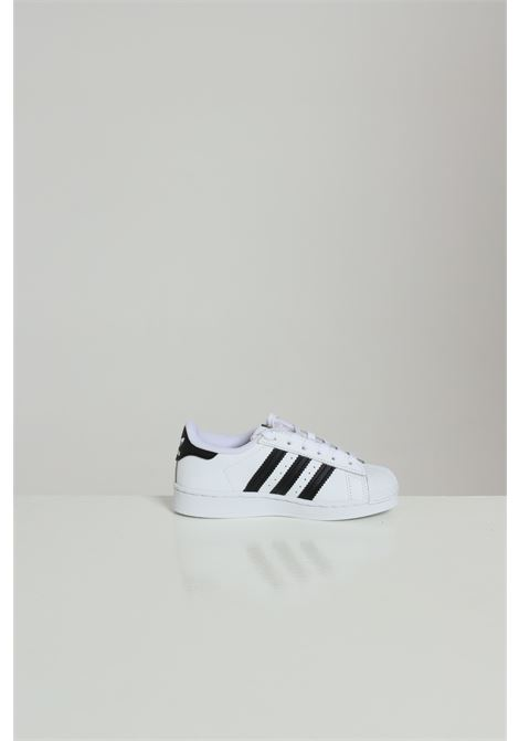 White SUPERSTAR sneakers in solid color with contrasting bands, laces closure. Baby model. Brand: Adidas ADIDAS | Sneakers | FU7714.