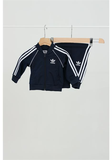 Blue newborn suit sweatshirt and trousers with contrasting bands adidas ADIDAS | Suit | GD2630.