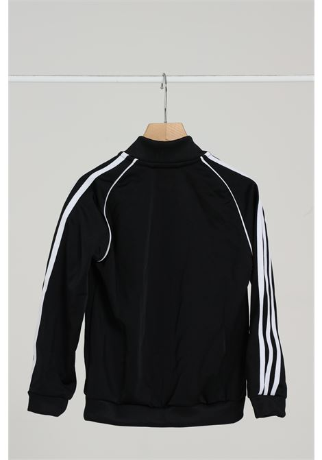 Black sweatshirt with front zip and contrasting side stripes. Baby model. Brand: Adidas ADIDAS | Sweatshirt | GE1974..BLACK/WHITE