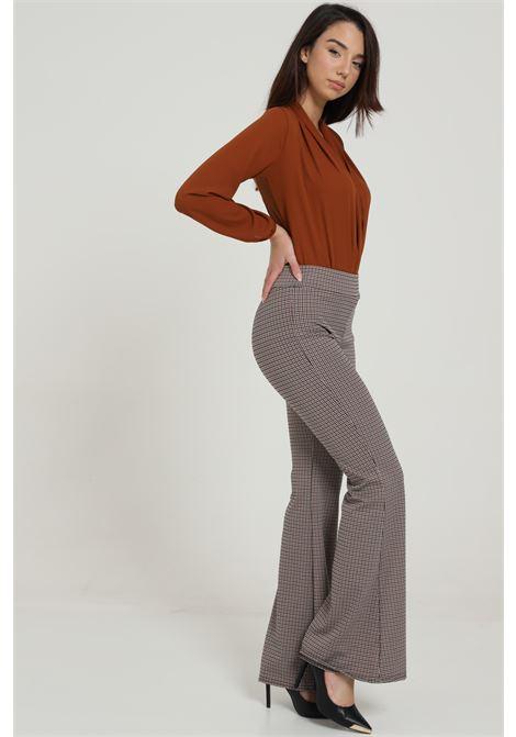 Pantalone Stampato A Vita Alta BAY | Pantaloni | BY403TABACCO