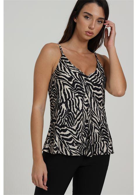 Canotta Basic Con Stampa Animalier BAY | T-shirt | M9386-D411BEIGE/NERO