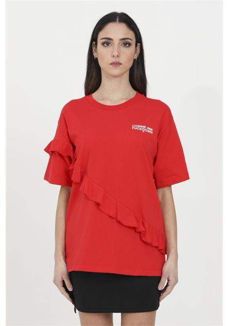 T-shirt logata con ruches COMME DES FUCKDOWN | T-shirt | CDFD1136ROSSO