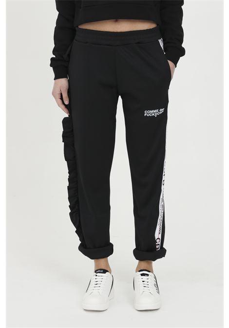 Pantalone casual con rouches e banda logata COMME DES FUCKDOWN | Pantaloni | CDFD1137NERO